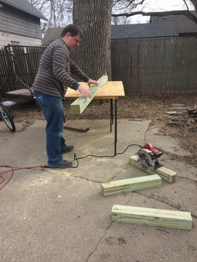 cutting posts for chicken coop