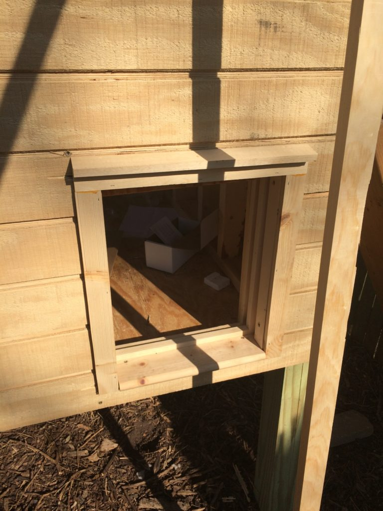 Automatic chicken coop door installed
