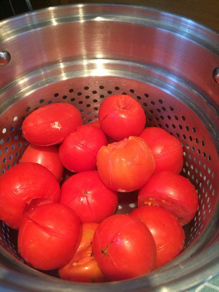 Blanched tomatoes for making spaghetti sauce from scratch