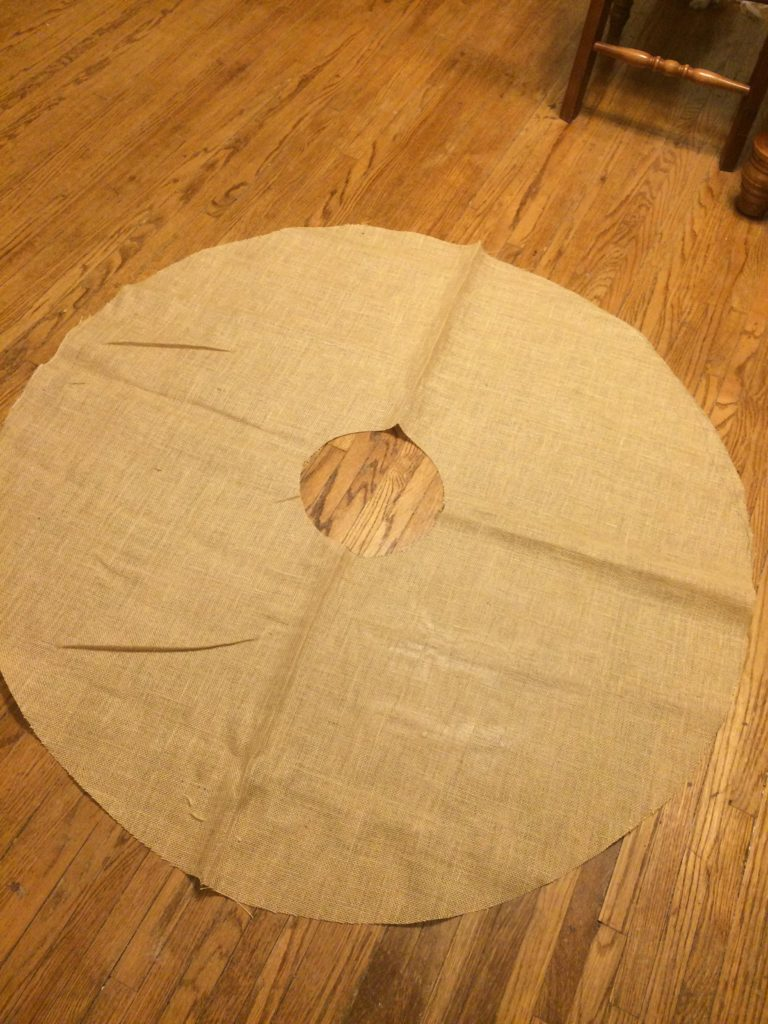 Donut shape cut for tree skirt
