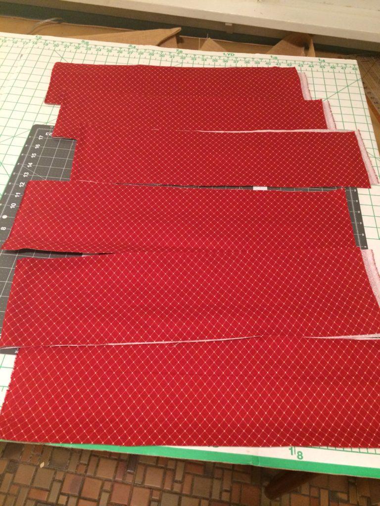 Strips cut for ruffle edge