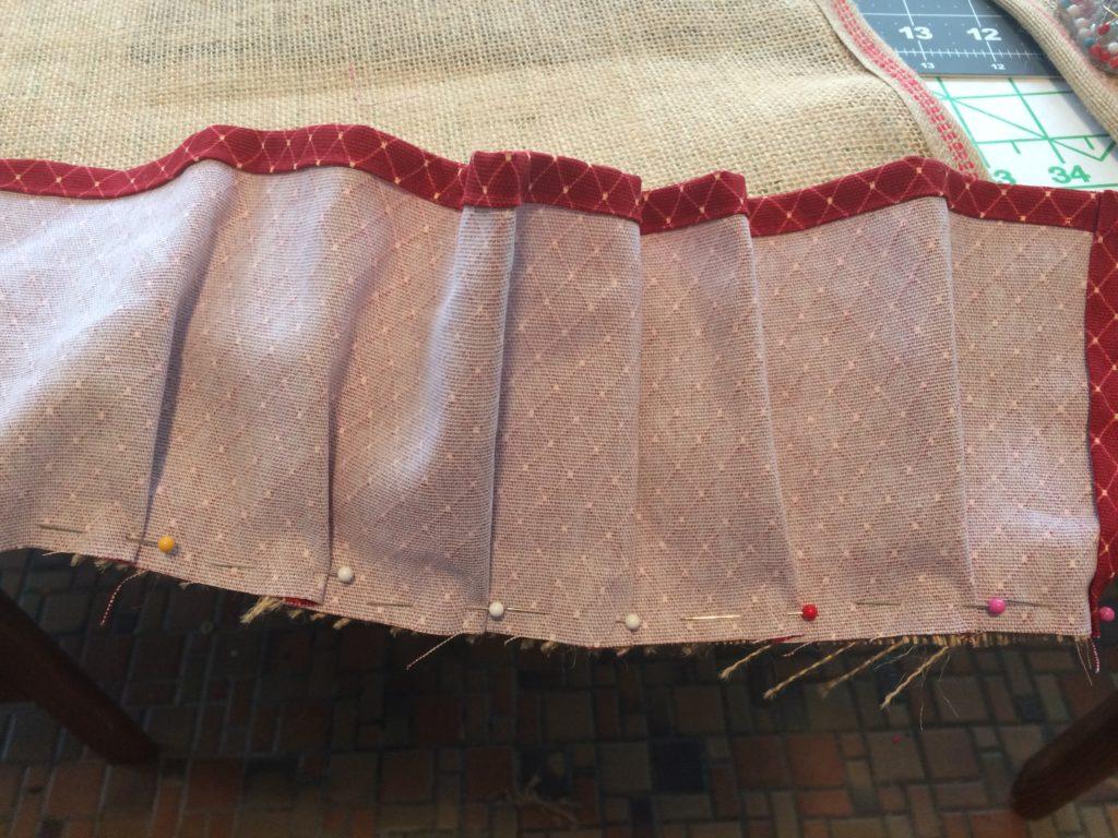 Pinning ruffles onto tree skirt edge