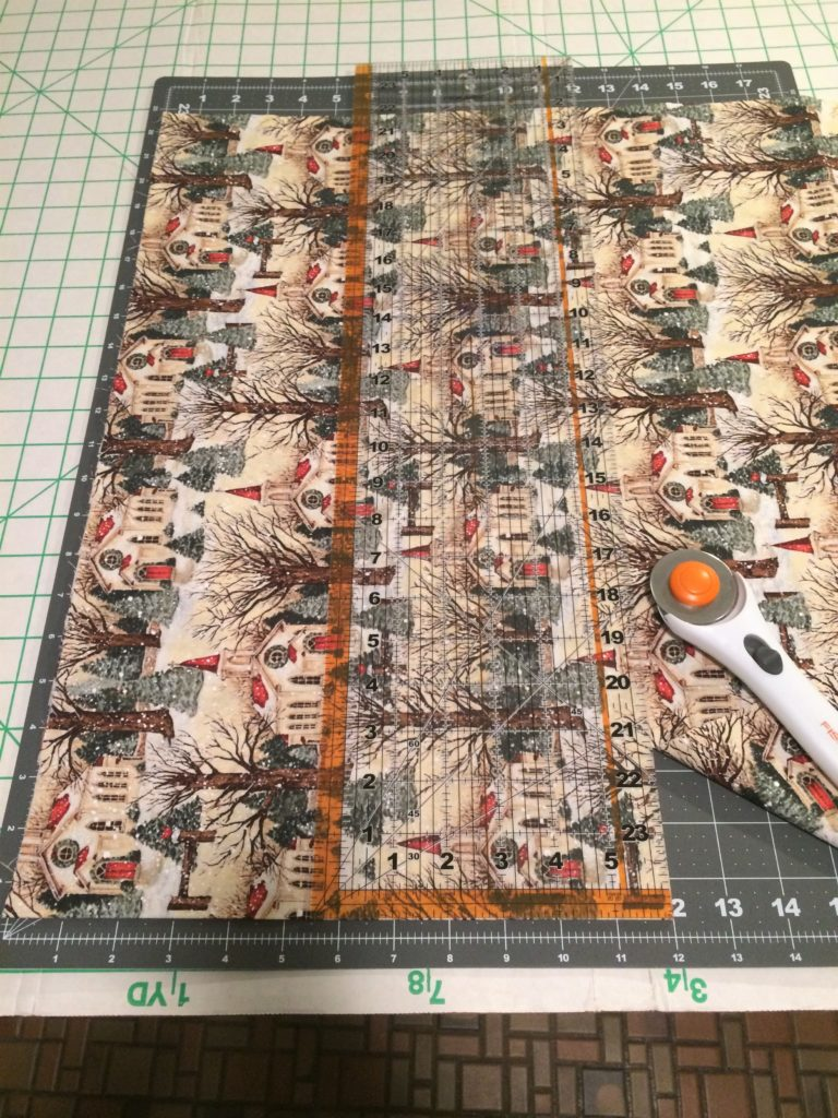 Cutting main fabric for Christmas tablerunner